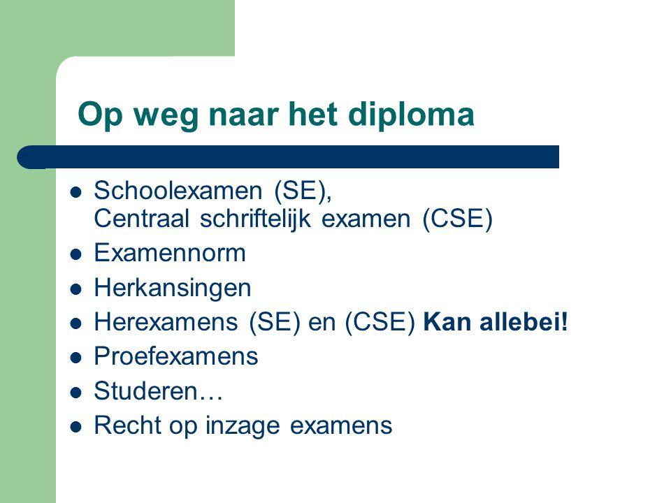 Op weg naar het diploma Schoolexamen (SE), Centraal schriftelijk examen (CSE) Examennorm Herkansingen Herexamens (SE) en (CSE) Kan allebei! Proefexame