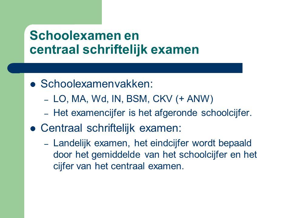 Schoolexamen en centraal schriftelijk examen Schoolexamenvakken: – LO, MA, Wd, IN, BSM, CKV (+ ANW) – Het examencijfer is het afgeronde schoolcijfer.