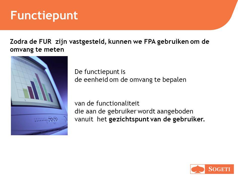 Functiepunt De functiepunt is de eenheid om de omvang te bepalen van de functionaliteit die aan de gebruiker wordt aangeboden vanuit het gezichtspunt