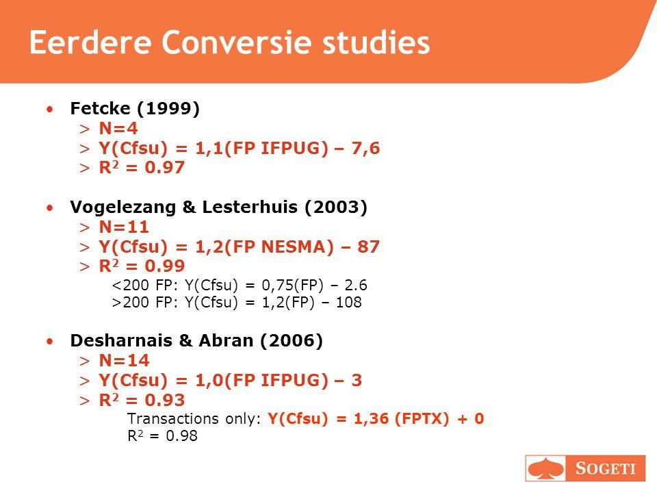 Eerdere Conversie studies Fetcke (1999) >N=4 >Y(Cfsu) = 1,1(FP IFPUG) – 7,6 >R 2 = 0.97 Vogelezang & Lesterhuis (2003) >N=11 >Y(Cfsu) = 1,2(FP NESMA)