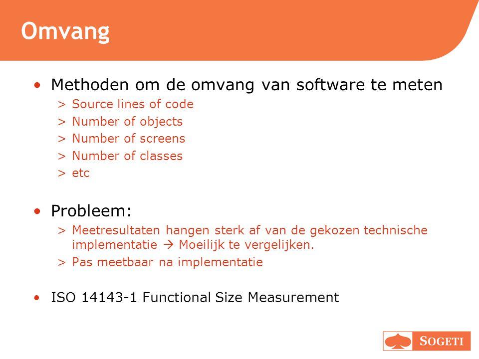 Omvang Methoden om de omvang van software te meten >Source lines of code >Number of objects >Number of screens >Number of classes >etc Probleem: >Meet