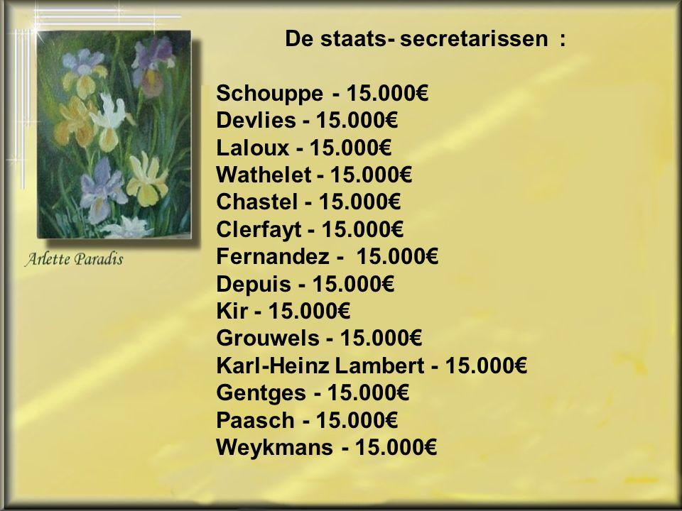 Onxelinx - Gezondheid - 16.667€ Reynders - 16.667€ Milquet – Arbeid 16.667€ Vandeurzen - 16.667€ De Crem - 16.667€ De Gucht - 16.667€ Michel Ch - 16.667€ Dewael - 16.667€ Magnette - 16.667€ Laruelle - 16.667€ Turtelboom - 16.667€ Arena - 16.667€ Vervotte - 16.667€ Van Quickenborne - 16.667€ Waarom.