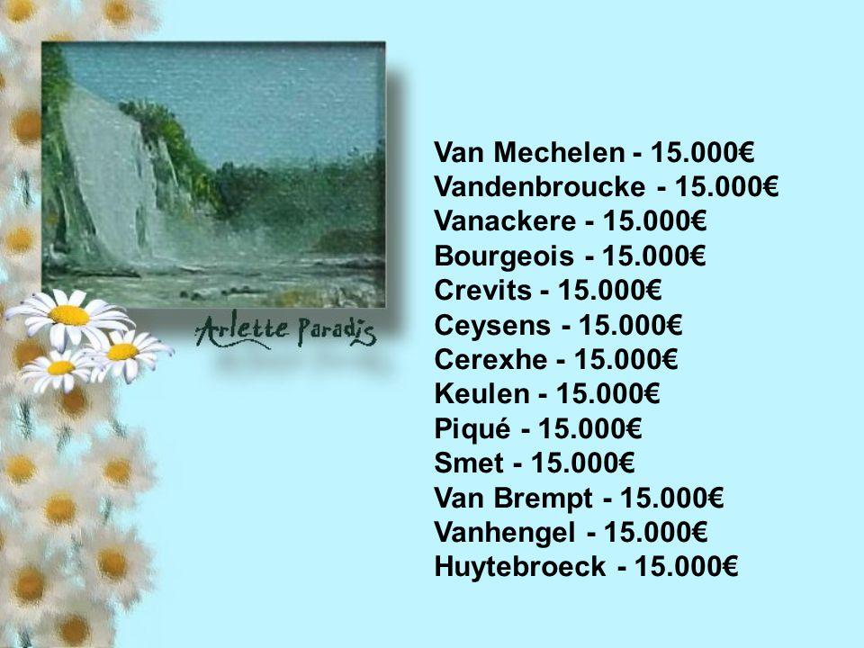 Ministers Demotte - 15.000 Fonck - 15.000€ Daerden - 15.000€ Lutgen - 15.000€ Simonet - 15.000€ Anciaux - 15.000€ Lalaan - 15.000€ Danfut - 15.000€ Tarabella - 15.000€ Antoine - 15.000€ Courard - 15.000€ Marcourt - 15.000€ Peeters - 15.000€