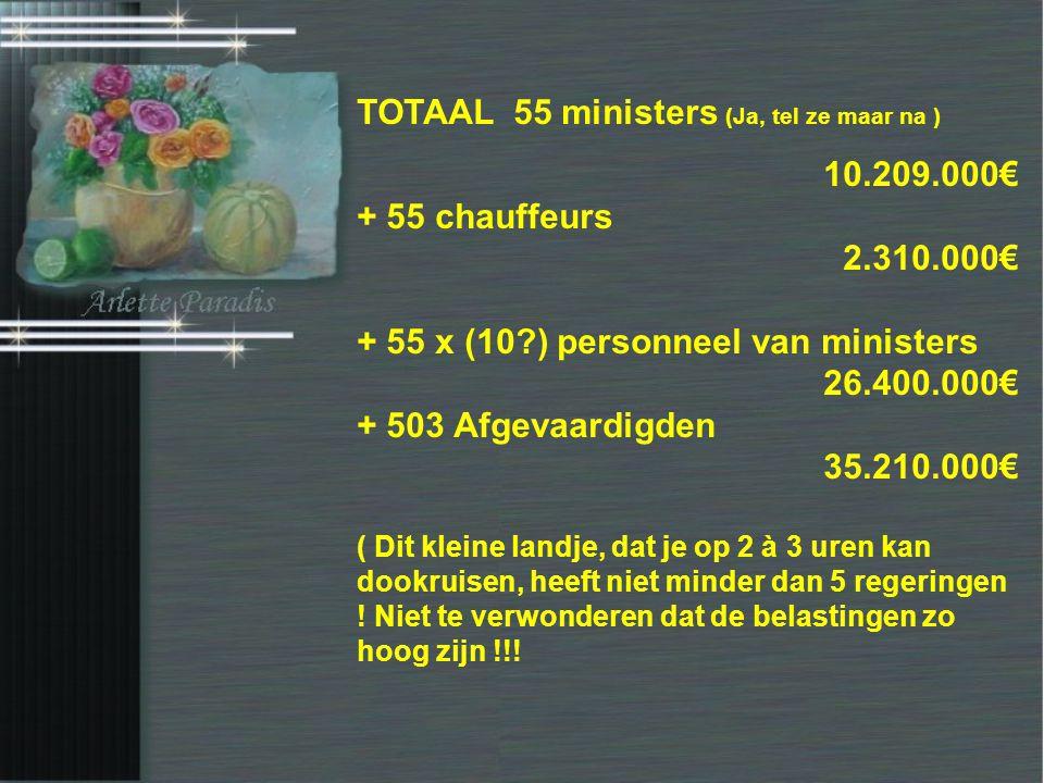 Van Mechelen - 15.000€ Vandenbroucke - 15.000€ Vanackere - 15.000€ Bourgeois - 15.000€ Crevits - 15.000€ Ceysens - 15.000€ Cerexhe - 15.000€ Keulen -