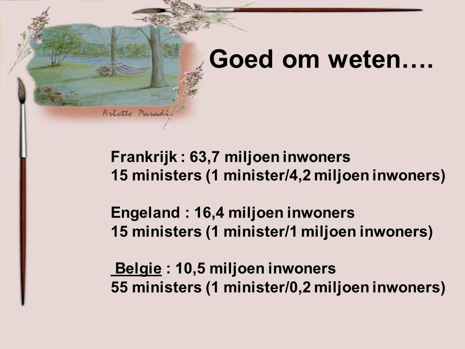 TOTAAL 55 ministers (Ja, tel ze maar na ) 10.209.000€ + 55 chauffeurs 2.310.000€ + 55 x (10?) personneel van ministers 26.400.000€ + 503 Afgevaardigde