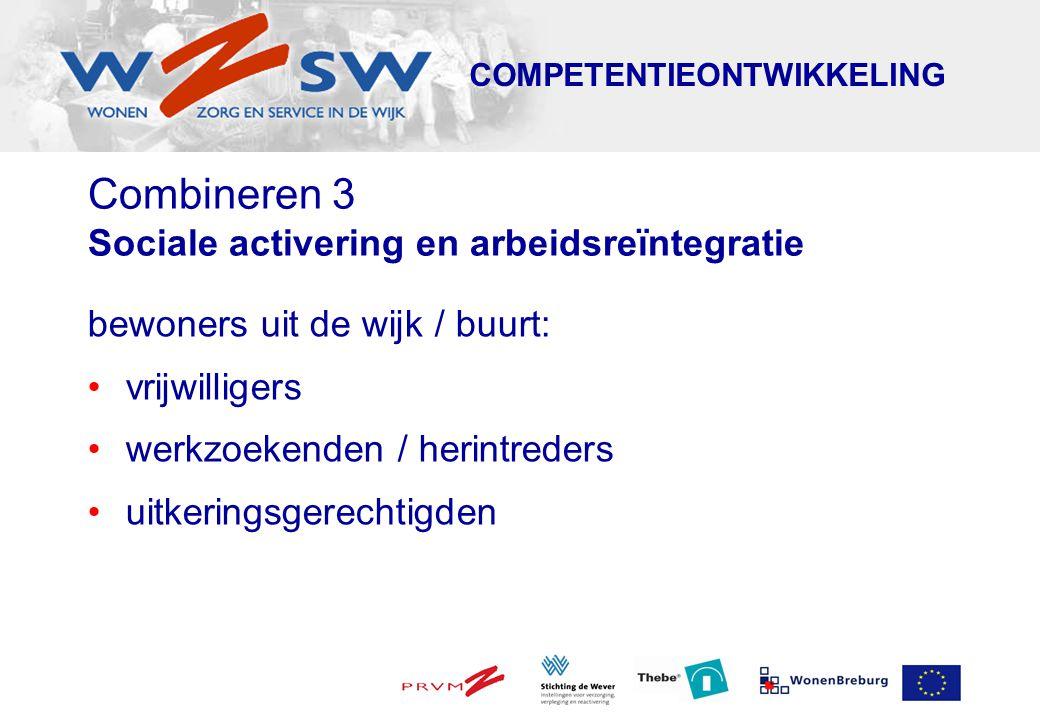 Aanbod WZSW - trajecten 1.Oriëntatietrajecten: kennis maken met Wonen, Zorg en Welzijn 2.Activeringstrajecten: empowerment van (allochtone) vrouwen naar participatie 3.Toeleidingstrajecten: uitstromen naar werk binnen Wonen, Zorg en Welzijn 4.Scholingstrajecten: ( m.i.v.
