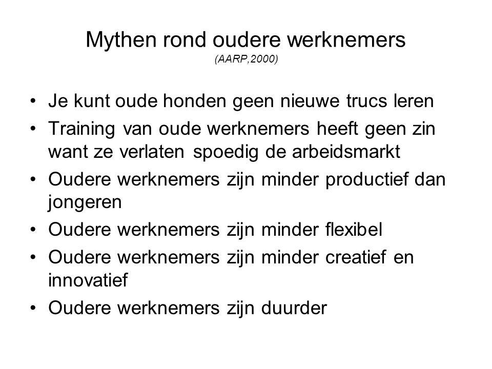 Mythen rond oudere werknemers (AARP,2000) Je kunt oude honden geen nieuwe trucs leren Training van oude werknemers heeft geen zin want ze verlaten spo