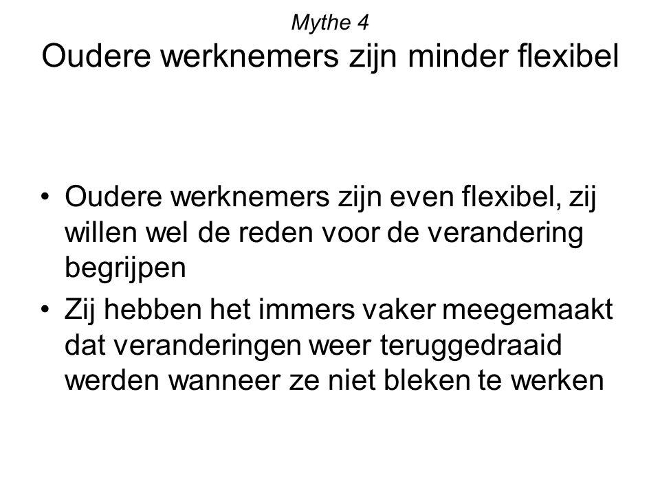 Mythe 4 Oudere werknemers zijn minder flexibel Oudere werknemers zijn even flexibel, zij willen wel de reden voor de verandering begrijpen Zij hebben het immers vaker meegemaakt dat veranderingen weer teruggedraaid werden wanneer ze niet bleken te werken