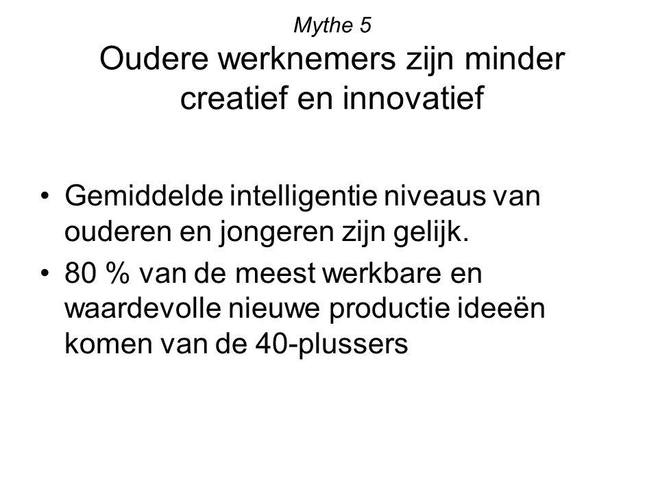 Mythe 5 Oudere werknemers zijn minder creatief en innovatief Gemiddelde intelligentie niveaus van ouderen en jongeren zijn gelijk. 80 % van de meest w