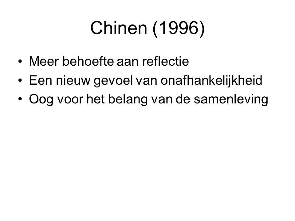 Chinen (1996) Meer behoefte aan reflectie Een nieuw gevoel van onafhankelijkheid Oog voor het belang van de samenleving