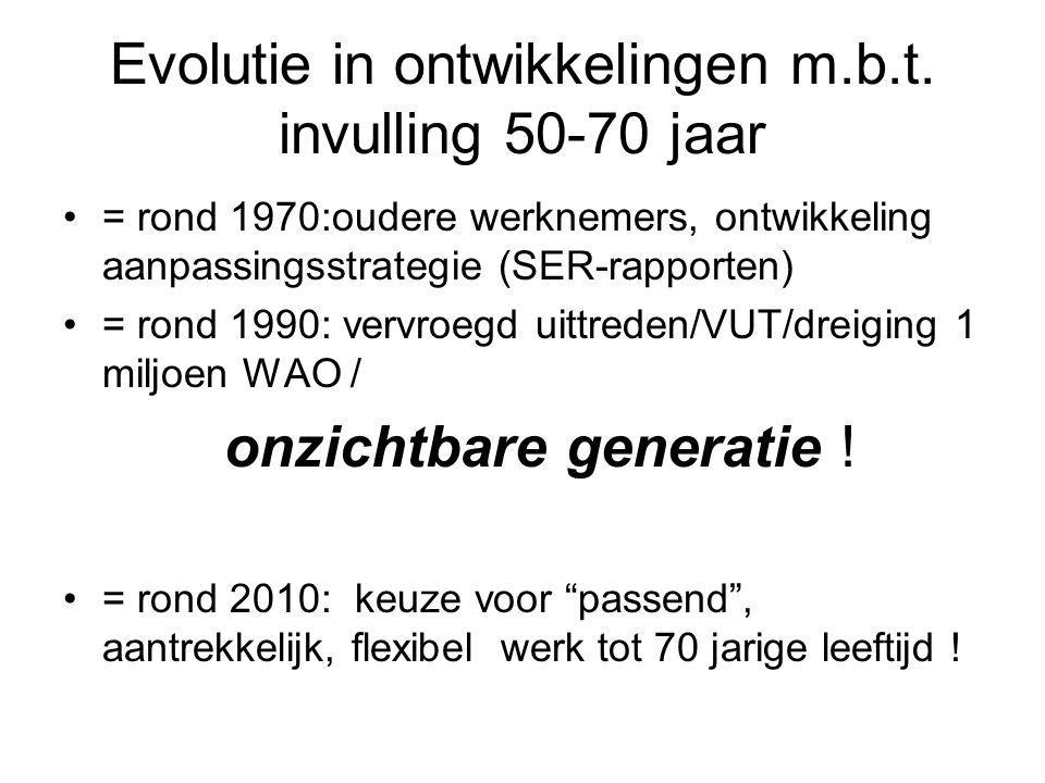 Evolutie in ontwikkelingen m.b.t. invulling 50-70 jaar = rond 1970:oudere werknemers, ontwikkeling aanpassingsstrategie (SER-rapporten) = rond 1990: v