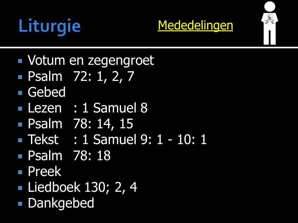  Votum en zegengroet  Psalm 72: 1, 2, 7  Gebed  Lezen: 1 Samuel 8  Psalm 78: 14, 15  Tekst: 1 Samuel 9: 1 - 10: 1  Psalm 78: 18  Preek  Liedboek 130; 2, 4  Dankgebed