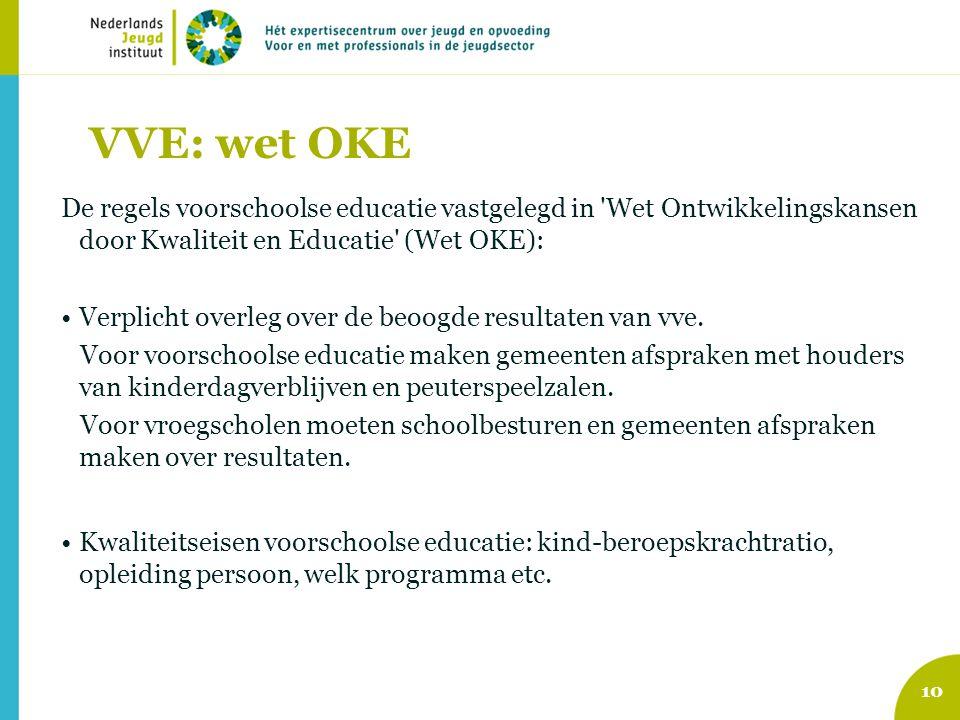 VVE: wet OKE De regels voorschoolse educatie vastgelegd in 'Wet Ontwikkelingskansen door Kwaliteit en Educatie' (Wet OKE): Verplicht overleg over de b