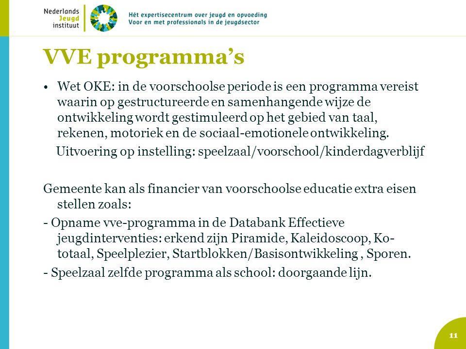 VVE programma's Wet OKE: in de voorschoolse periode is een programma vereist waarin op gestructureerde en samenhangende wijze de ontwikkeling wordt ge