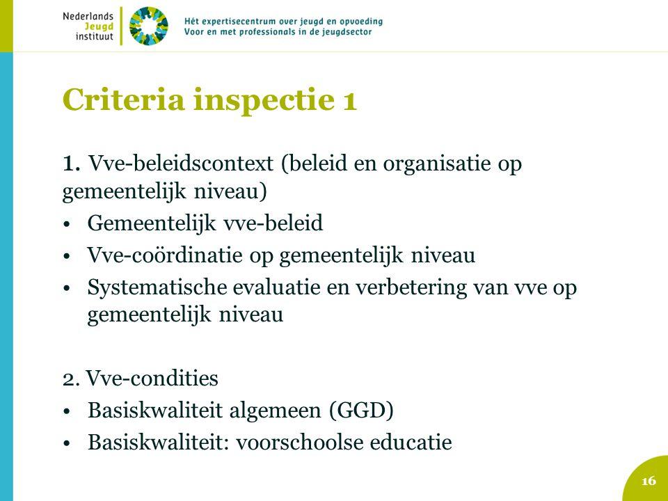Criteria inspectie 1 1. Vve-beleidscontext (beleid en organisatie op gemeentelijk niveau) Gemeentelijk vve-beleid Vve-coördinatie op gemeentelijk nive
