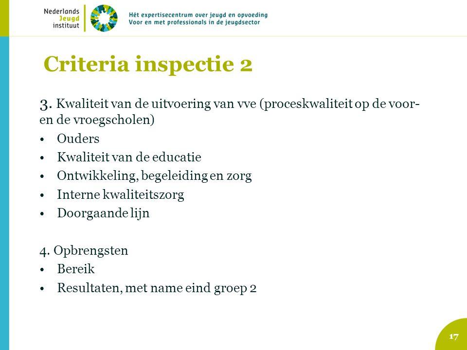 Criteria inspectie 2 3. Kwaliteit van de uitvoering van vve (proceskwaliteit op de voor- en de vroegscholen) Ouders Kwaliteit van de educatie Ontwikke