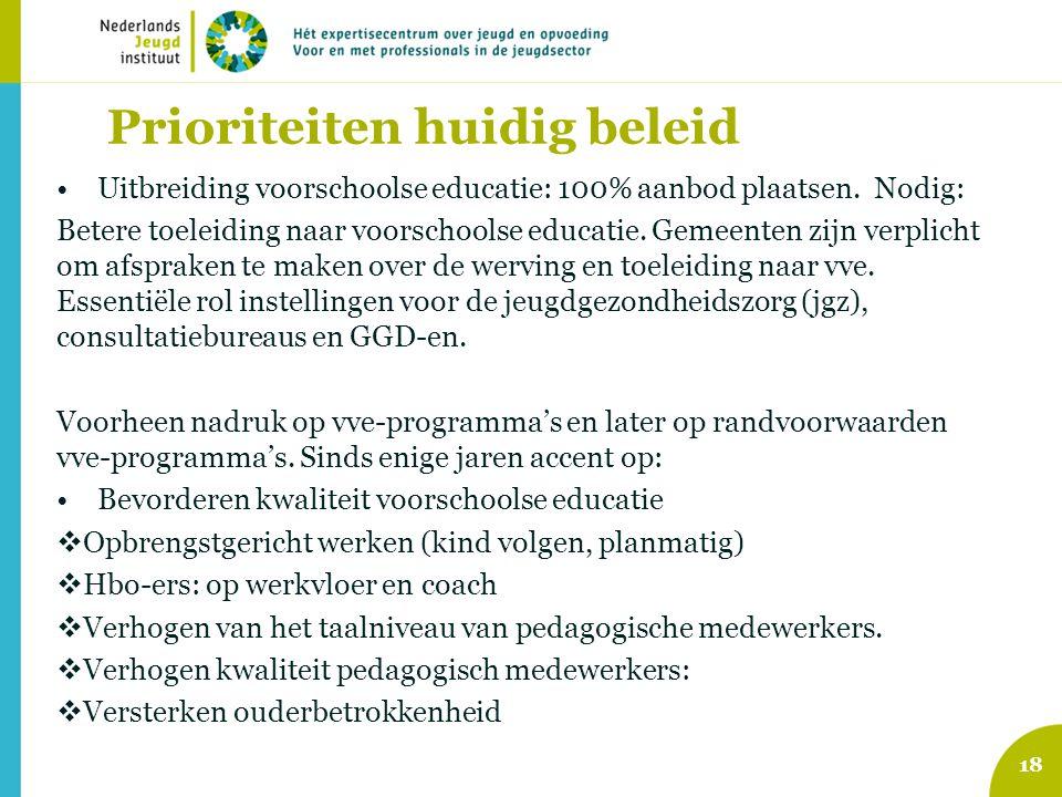 Prioriteiten huidig beleid Uitbreiding voorschoolse educatie: 100% aanbod plaatsen. Nodig: Betere toeleiding naar voorschoolse educatie. Gemeenten zij