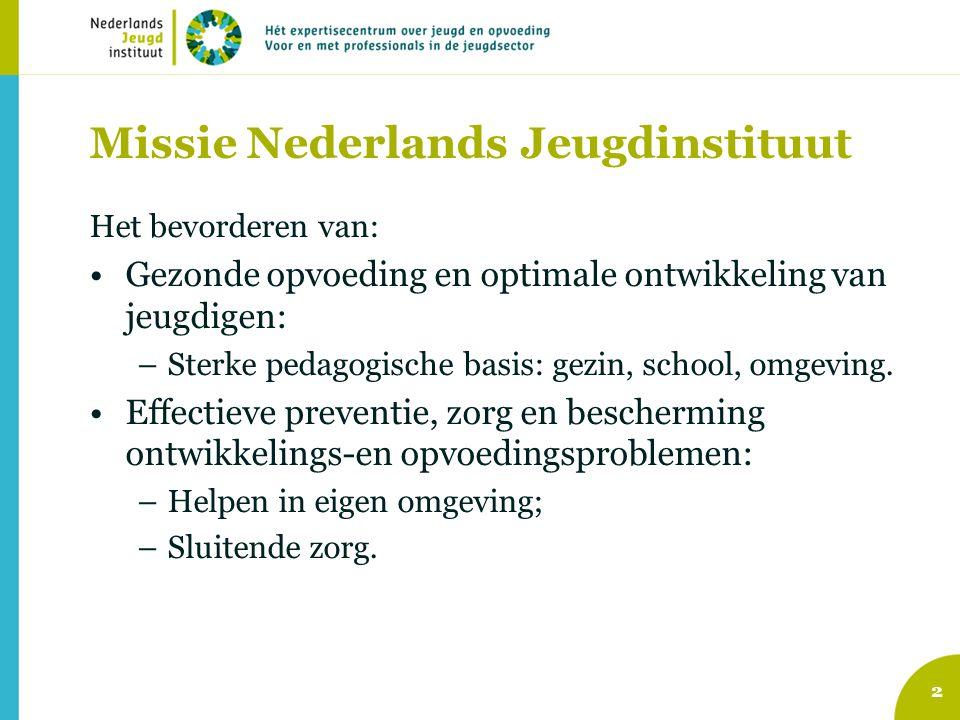 2 Missie Nederlands Jeugdinstituut Het bevorderen van: Gezonde opvoeding en optimale ontwikkeling van jeugdigen: –Sterke pedagogische basis: gezin, sc