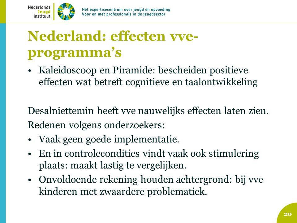 Nederland: effecten vve- programma's Kaleidoscoop en Piramide: bescheiden positieve effecten wat betreft cognitieve en taalontwikkeling Desalniettemin