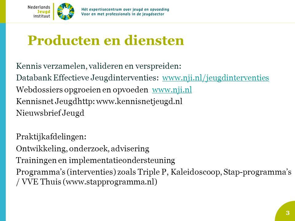3 Producten en diensten Kennis verzamelen, valideren en verspreiden: Databank Effectieve Jeugdinterventies: www.nji.nl/jeugdinterventieswww.nji.nl/jeu