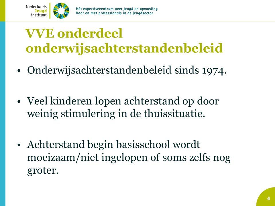 VVE onderdeel onderwijsachterstandenbeleid Onderwijsachterstandenbeleid sinds 1974. Veel kinderen lopen achterstand op door weinig stimulering in de t