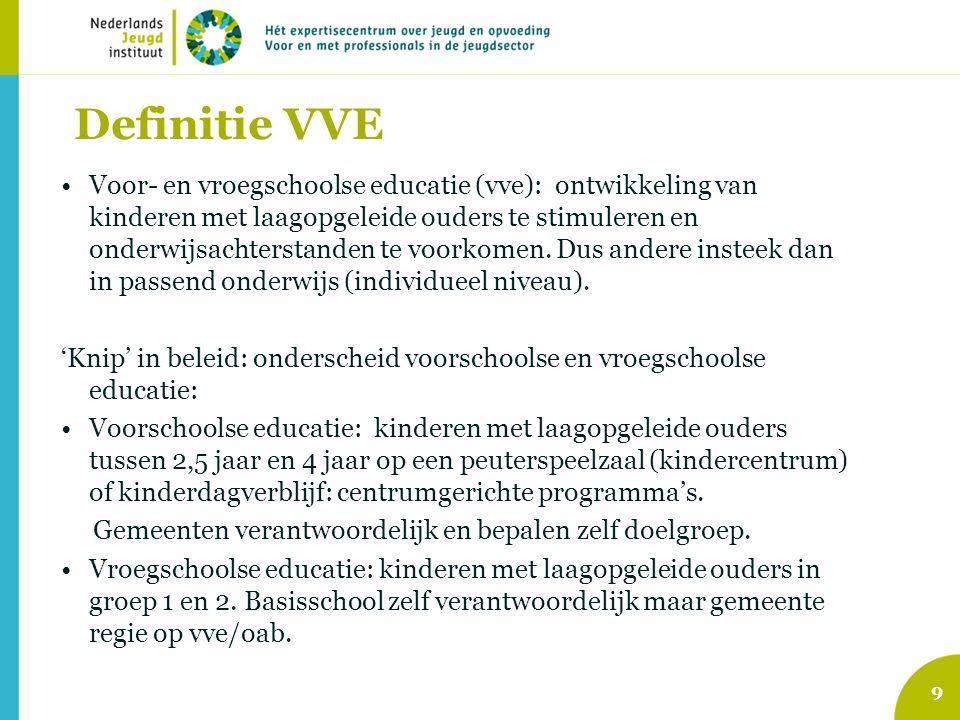 Definitie VVE Voor- en vroegschoolse educatie (vve): ontwikkeling van kinderen met laagopgeleide ouders te stimuleren en onderwijsachterstanden te voo