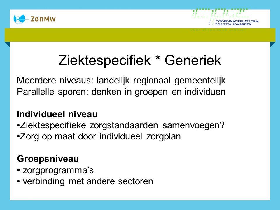 Ziektespecifiek * Generiek Meerdere niveaus: landelijk regionaal gemeentelijk Parallelle sporen: denken in groepen en individuen Individueel niveau Zi