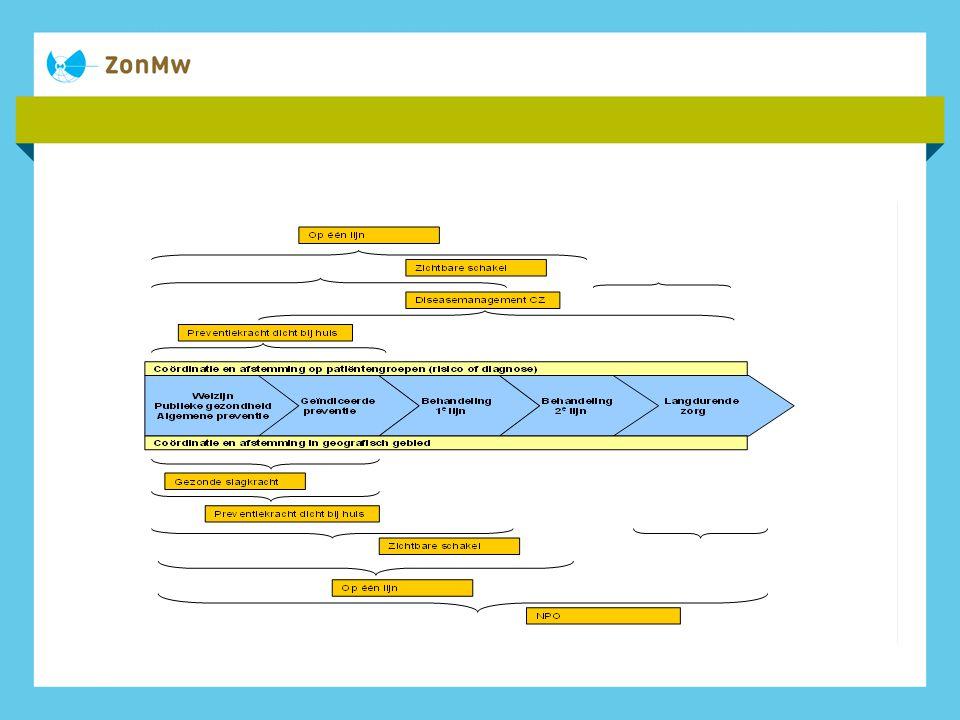 Strategie Inzetten op meerdere niveau's: landelijk, regionaal, gemeentelijk Regionaal of gemeentelijk: Zoek aansluiting bij lokale actoren Ontwikkel zorgprogramma's lokale context Landelijk: handhaaf ziektespecifieke zorgstandaarden ga voor individueel zorgplan (ziekte overstijgend) verstevig organisatie door verbreding