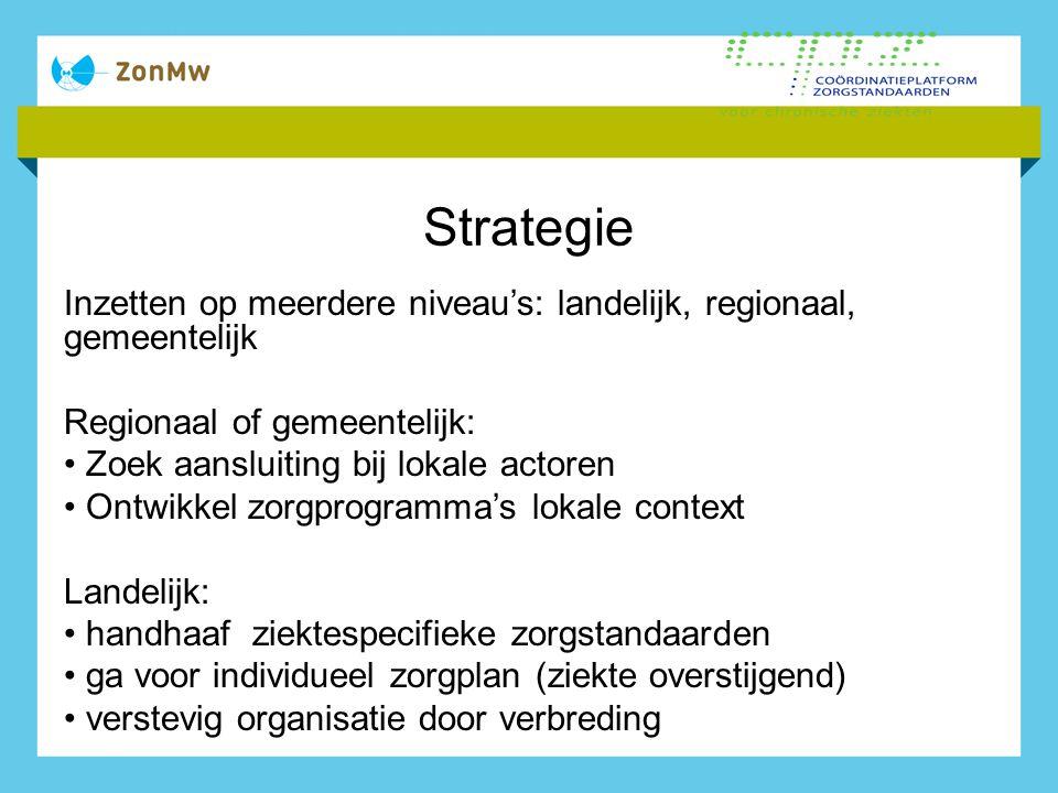 Strategie Inzetten op meerdere niveau's: landelijk, regionaal, gemeentelijk Regionaal of gemeentelijk: Zoek aansluiting bij lokale actoren Ontwikkel z
