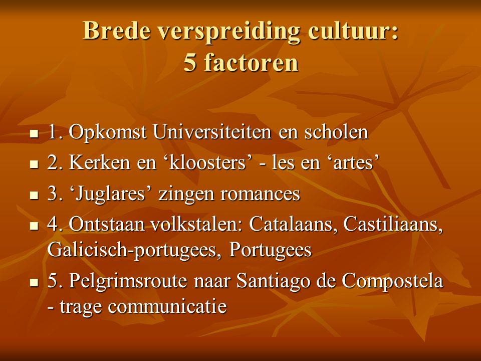 Brede verspreiding cultuur: 5 factoren 1. Opkomst Universiteiten en scholen 1. Opkomst Universiteiten en scholen 2. Kerken en 'kloosters' - les en 'ar