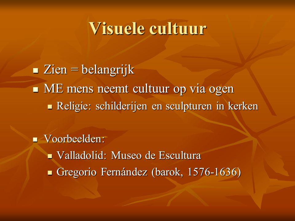 Visuele cultuur Zien = belangrijk Zien = belangrijk ME mens neemt cultuur op via ogen ME mens neemt cultuur op via ogen Religie: schilderijen en sculp