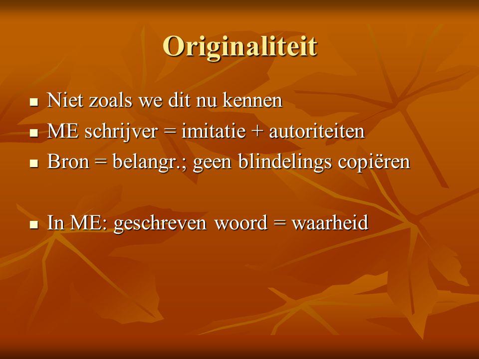 Originaliteit Niet zoals we dit nu kennen Niet zoals we dit nu kennen ME schrijver = imitatie + autoriteiten ME schrijver = imitatie + autoriteiten Br