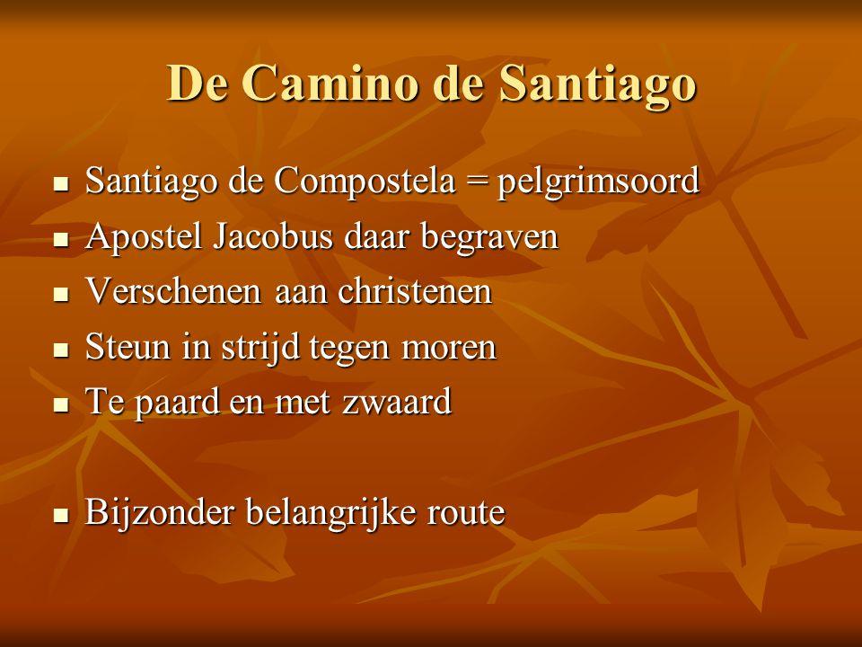De Camino de Santiago Santiago de Compostela = pelgrimsoord Santiago de Compostela = pelgrimsoord Apostel Jacobus daar begraven Apostel Jacobus daar b