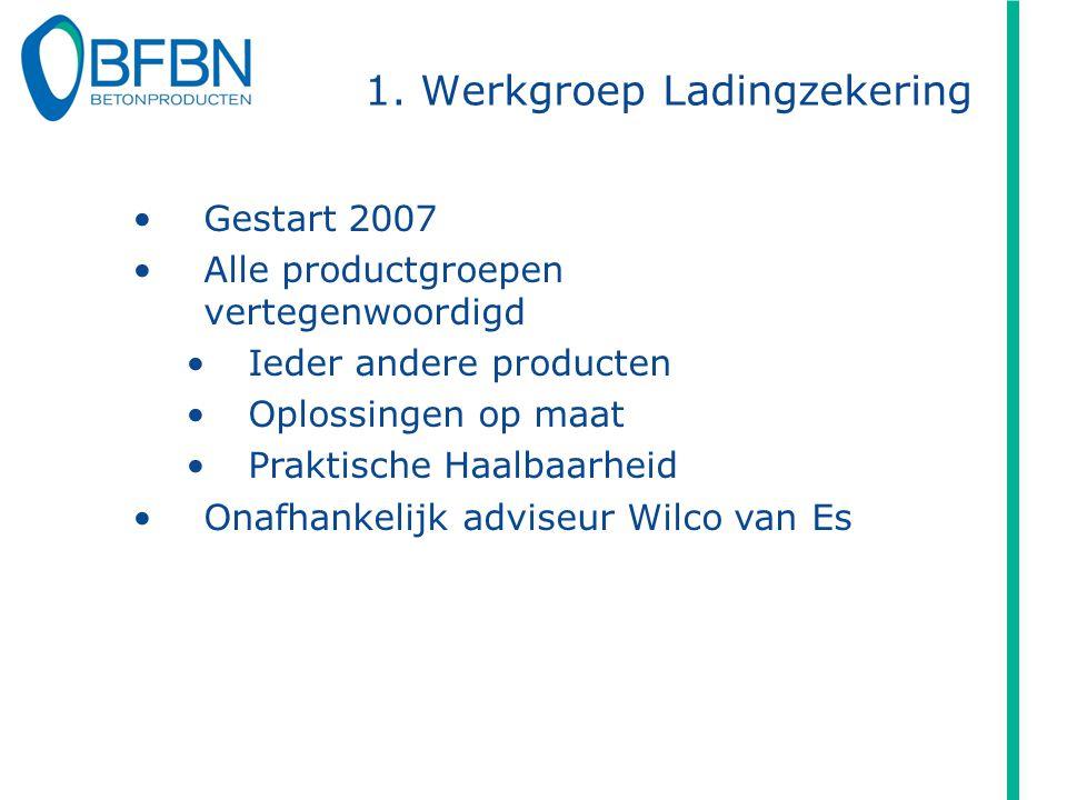 1. Werkgroep Ladingzekering Gestart 2007 Alle productgroepen vertegenwoordigd Ieder andere producten Oplossingen op maat Praktische Haalbaarheid Onafh