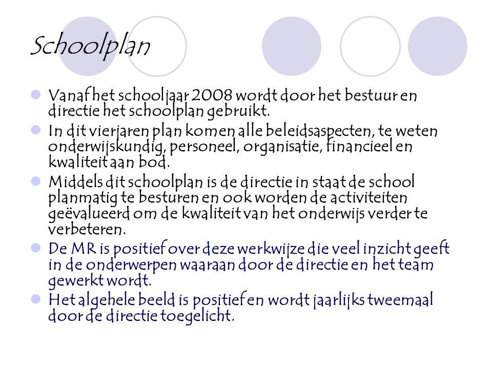Schoolplan Vanaf het schooljaar 2008 wordt door het bestuur en directie het schoolplan gebruikt.