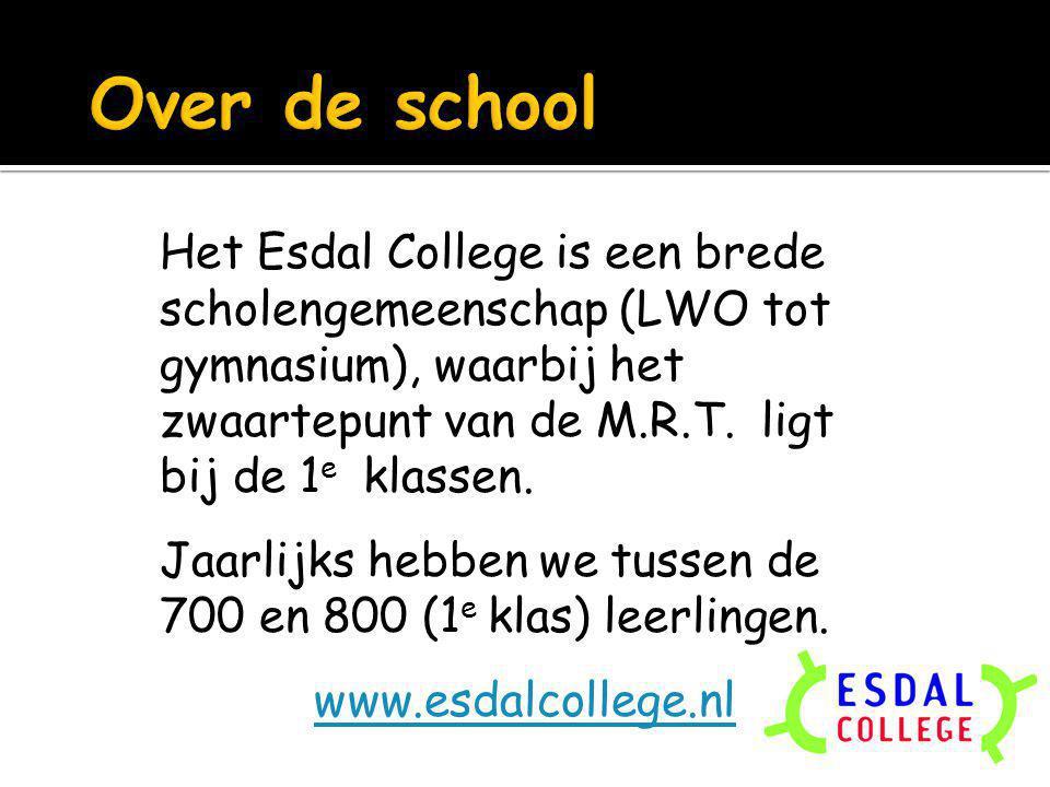 Het Esdal College is een brede scholengemeenschap (LWO tot gymnasium), waarbij het zwaartepunt van de M.R.T. ligt bij de 1 e klassen. Jaarlijks hebben