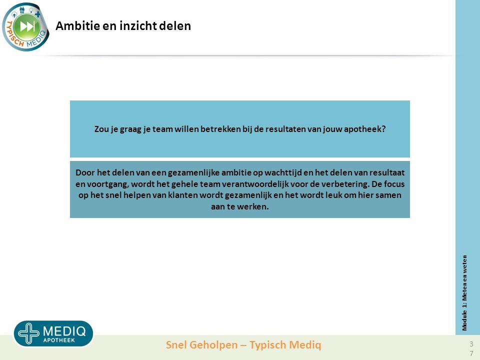 Snel Geholpen – Typisch Mediq Ambitie en inzicht delen Zou je graag je team willen betrekken bij de resultaten van jouw apotheek.