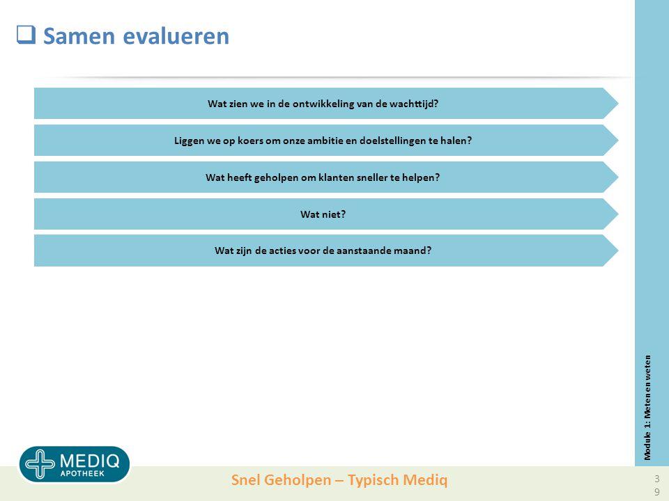 Snel Geholpen – Typisch Mediq  Samen evalueren Module 1: Meten en weten Wat zien we in de ontwikkeling van de wachttijd.
