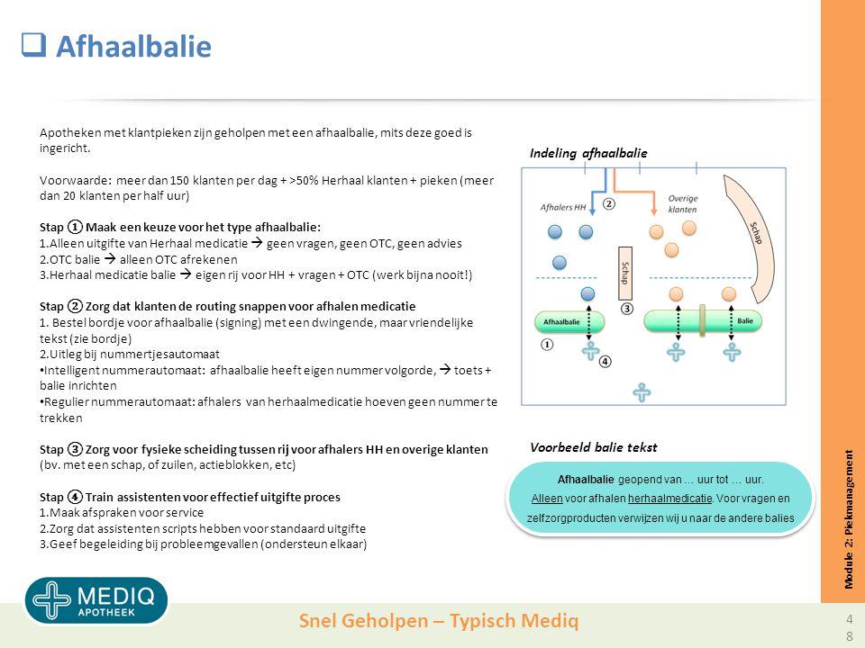 Snel Geholpen – Typisch Mediq  Afhaalbalie Module 2: Piekmanagement Apotheken met klantpieken zijn geholpen met een afhaalbalie, mits deze goed is ingericht.