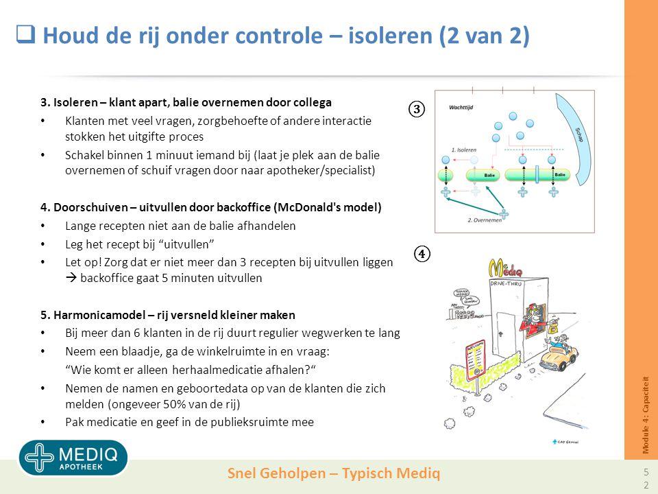 Snel Geholpen – Typisch Mediq  Houd de rij onder controle – isoleren (2 van 2) 3.