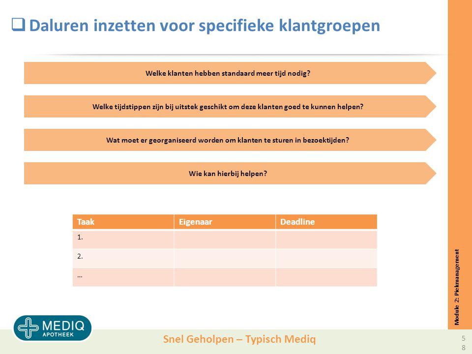 Snel Geholpen – Typisch Mediq  Daluren inzetten voor specifieke klantgroepen Module 2: Piekmanagement Welke klanten hebben standaard meer tijd nodig.