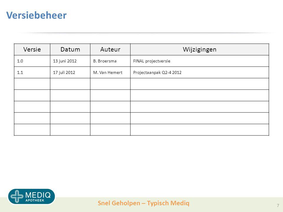 Snel Geholpen – Typisch Mediq Versiebeheer VersieDatumAuteurWijzigingen 1.013 juni 2012B.