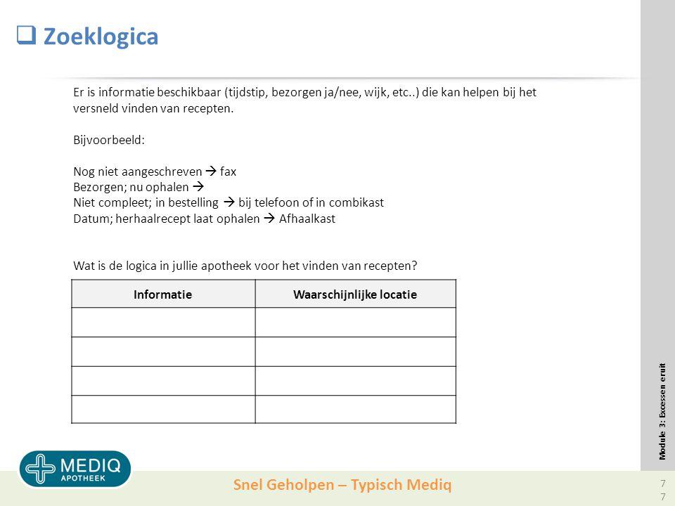 Snel Geholpen – Typisch Mediq  Zoeklogica Module 3: Excessen eruit Er is informatie beschikbaar (tijdstip, bezorgen ja/nee, wijk, etc..) die kan helpen bij het versneld vinden van recepten.