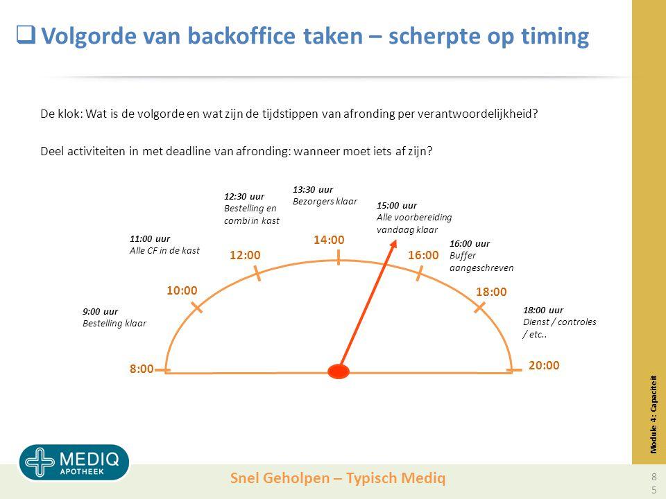 Snel Geholpen – Typisch Mediq  Volgorde van backoffice taken – scherpte op timing De klok: Wat is de volgorde en wat zijn de tijdstippen van afronding per verantwoordelijkheid.