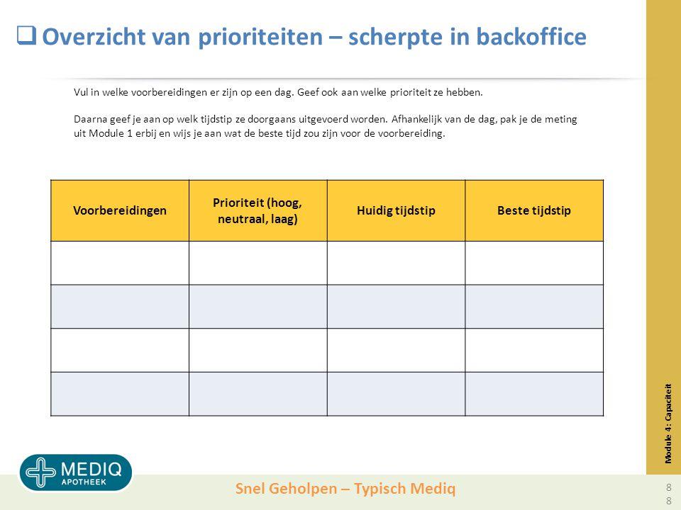 Snel Geholpen – Typisch Mediq  Overzicht van prioriteiten – scherpte in backoffice Module 4: Capaciteit Voorbereidingen Prioriteit (hoog, neutraal, laag) Huidig tijdstipBeste tijdstip Vul in welke voorbereidingen er zijn op een dag.