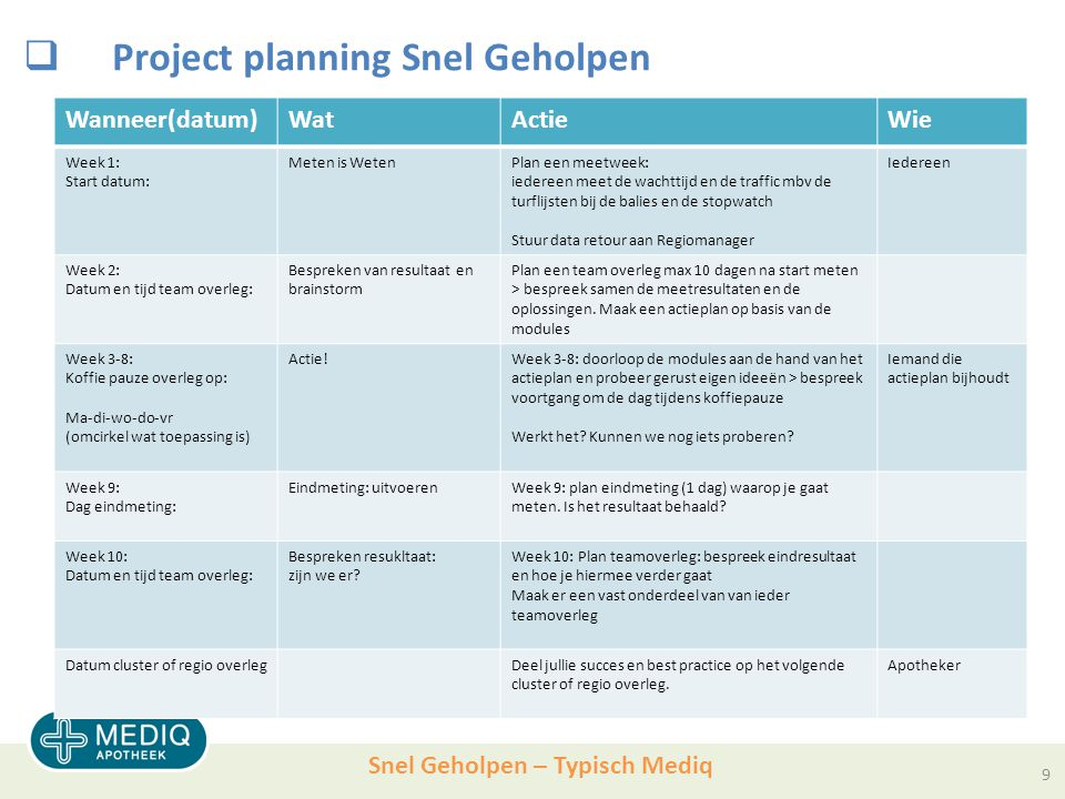 Snel Geholpen – Typisch Mediq  Project planning Snel Geholpen Wanneer(datum)WatActieWie Week 1: Start datum: Meten is WetenPlan een meetweek: iederee