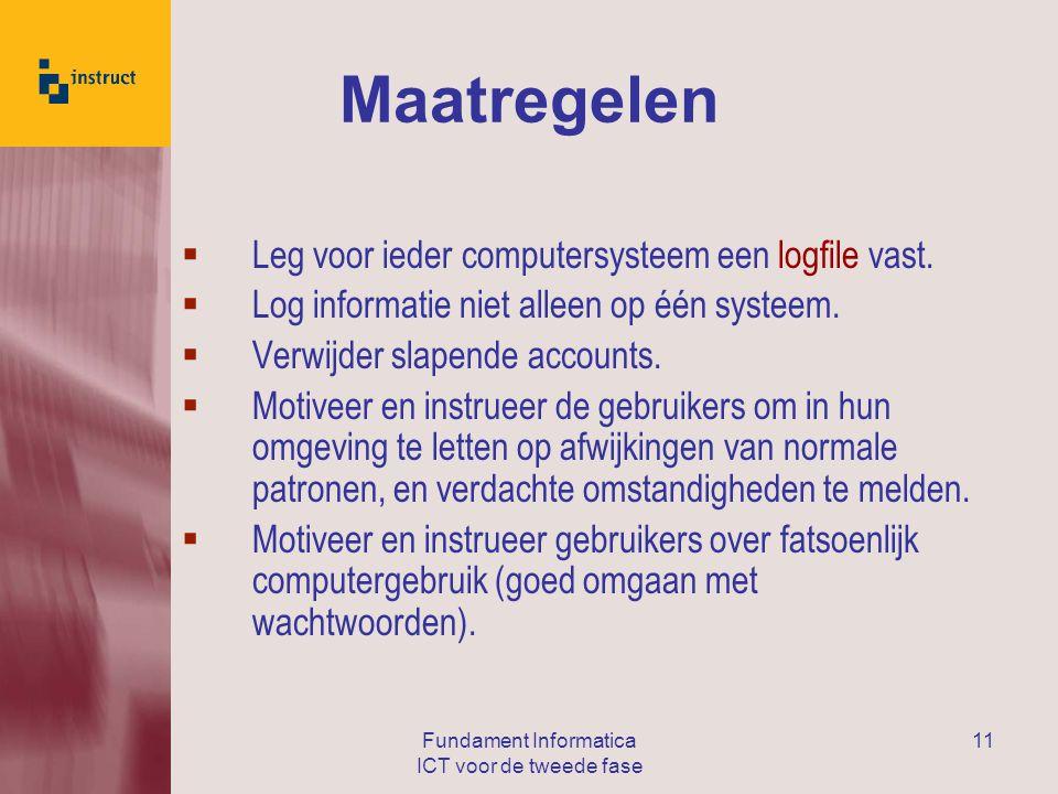 Fundament Informatica ICT voor de tweede fase 11 Maatregelen  Leg voor ieder computersysteem een logfile vast.