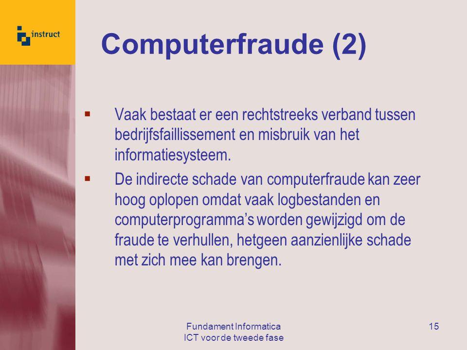 Fundament Informatica ICT voor de tweede fase 15 Computerfraude (2)  Vaak bestaat er een rechtstreeks verband tussen bedrijfsfaillissement en misbruik van het informatiesysteem.