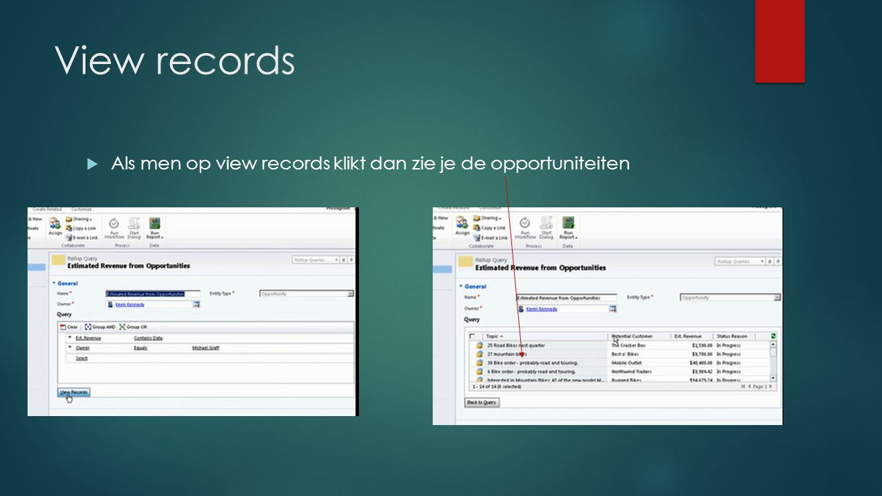 View records  Als men op view records klikt dan zie je de opportuniteiten