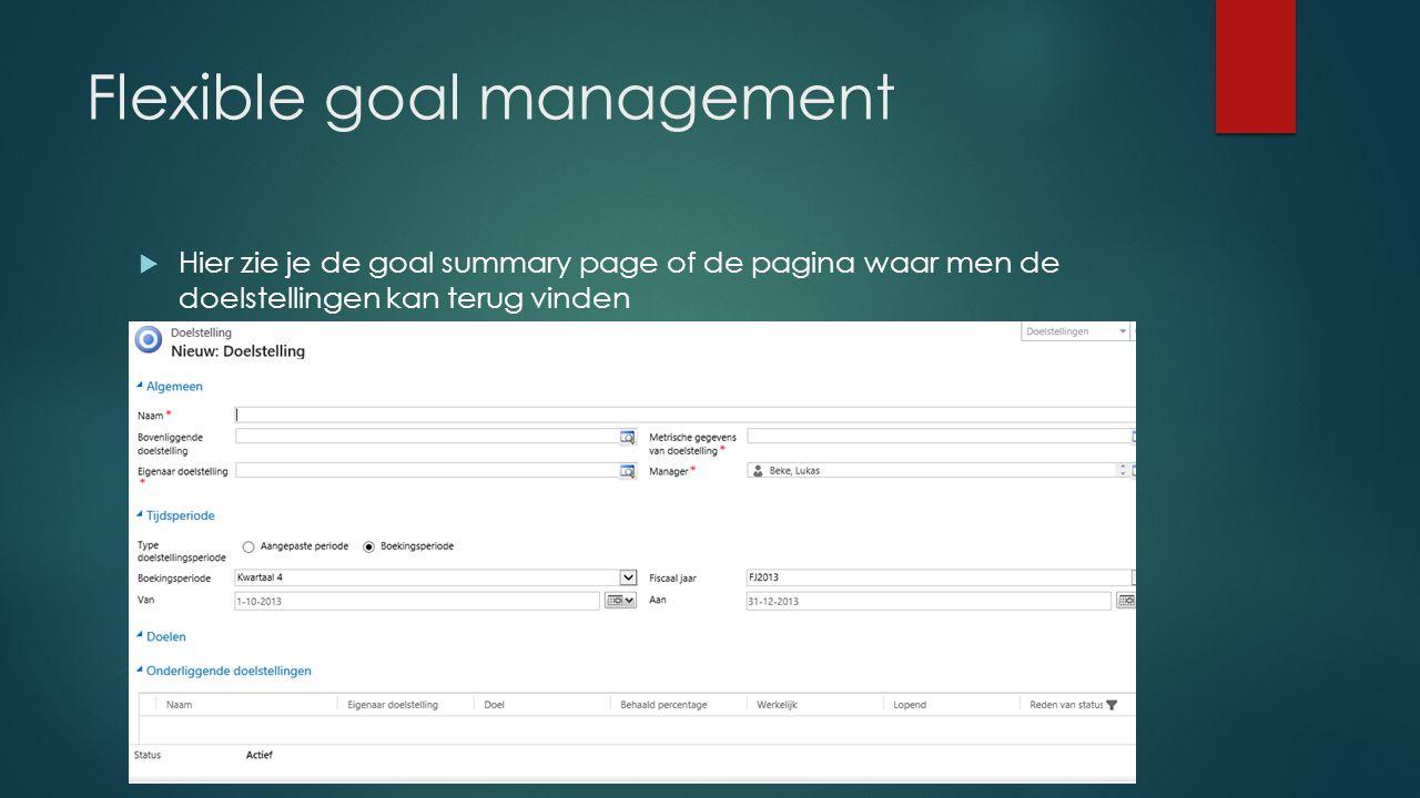 Flexible goal management  Hier zie je de goal summary page of de pagina waar men de doelstellingen kan terug vinden
